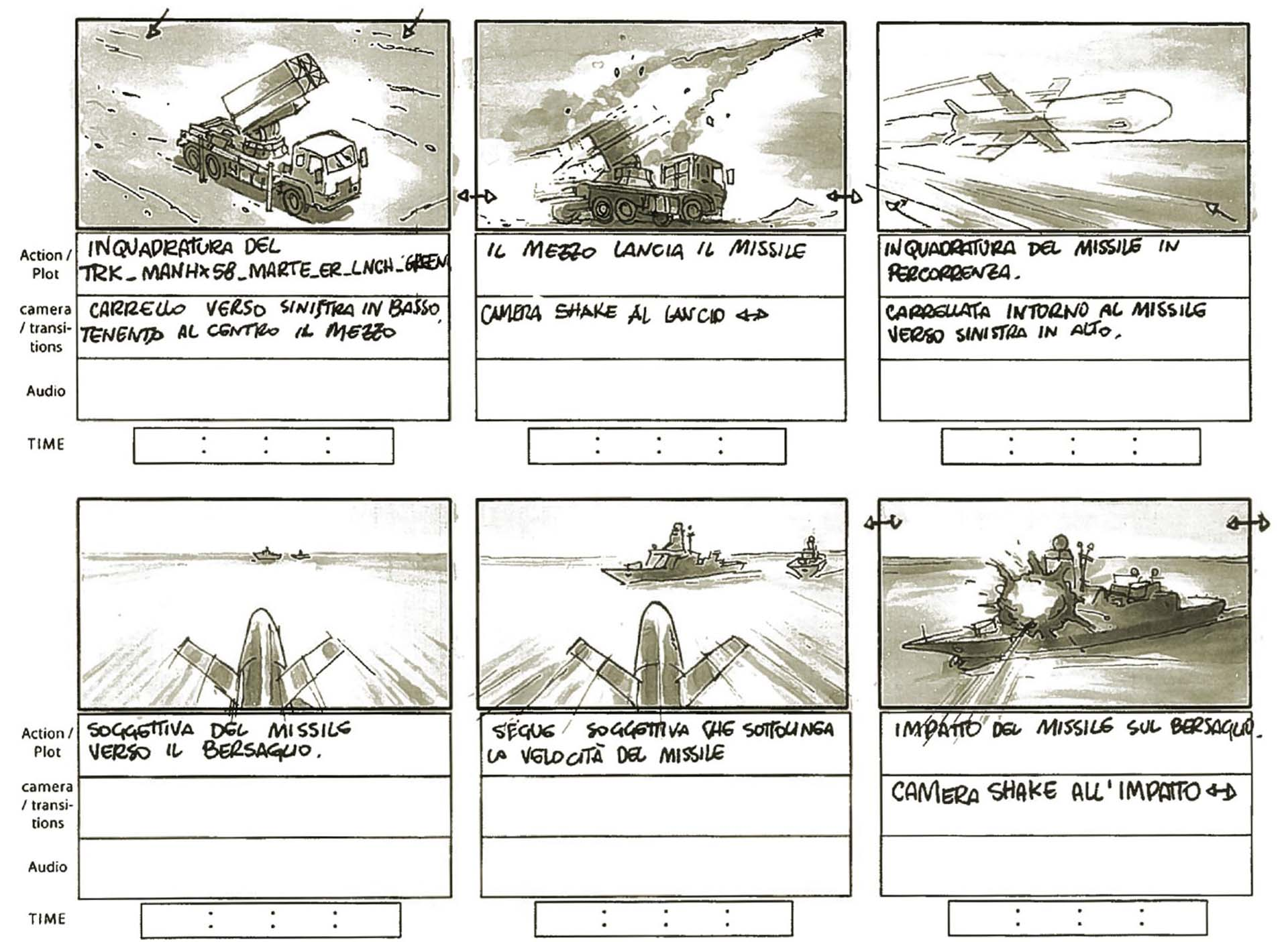 Storyboard for military defence video with missile and naval 3d models